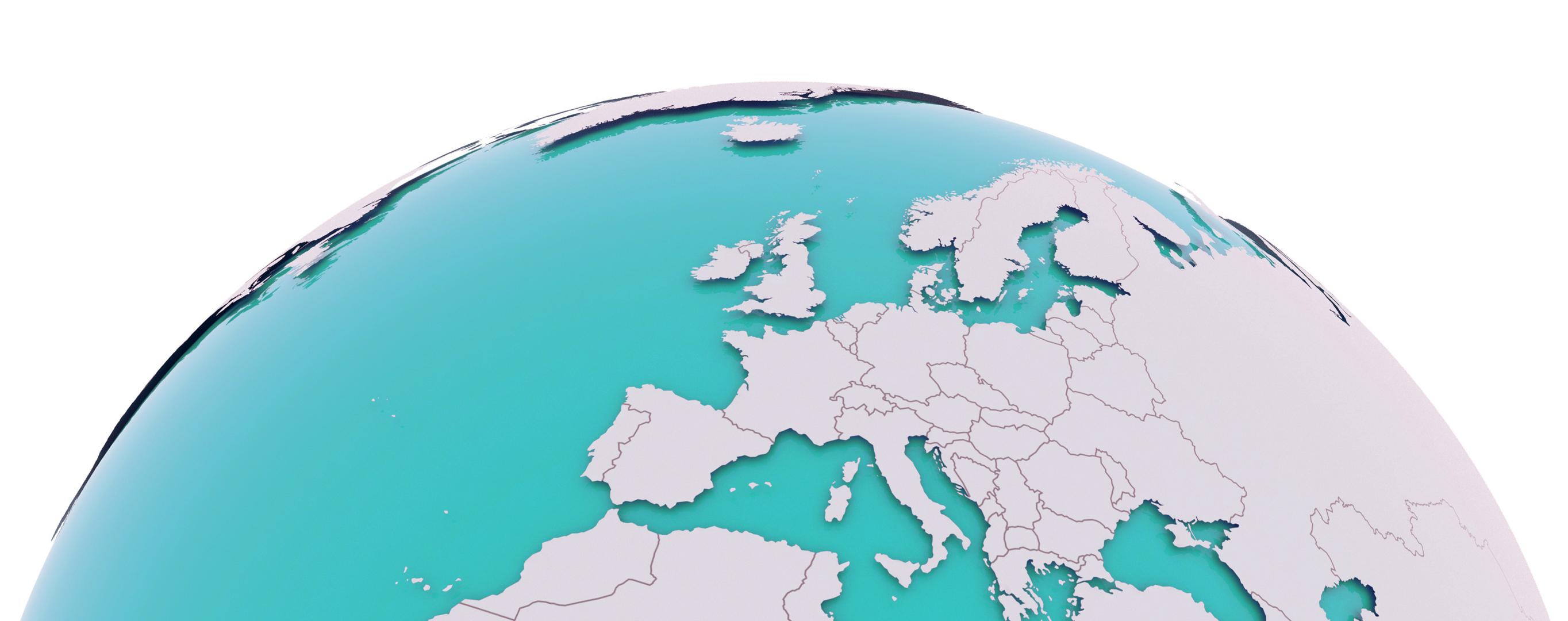 Weltkugel mit den Ländern, die beliefert werden können